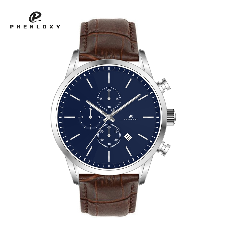 Design men luxury 5atm water resistant stainless steel chronograph wristwatches