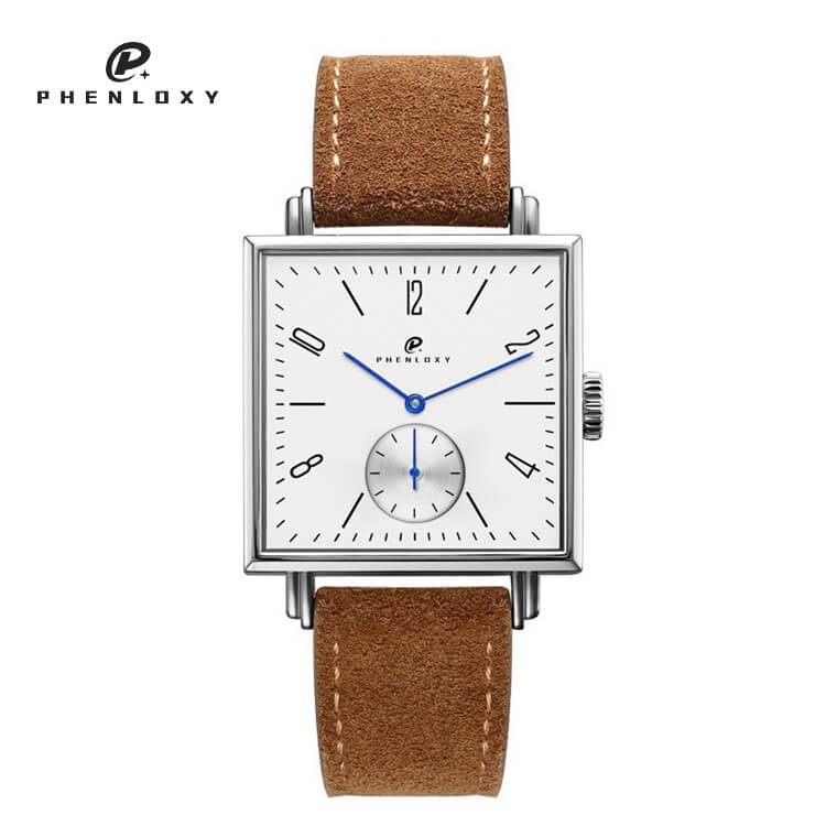 Men fashion square stainless steel case leather strap automatic mechanical movement business wristwatches