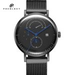 Men stainless steel mesh strap seagull moon phase chronograph automatic mechanical movement wristwatches