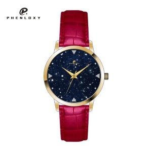 Custom women stylish natural Kyanite marble starry dial mineral glass wristwatch