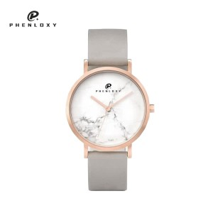 Ladies luxury fashion stainless steel case real natural marble dial waterproof wristwatch